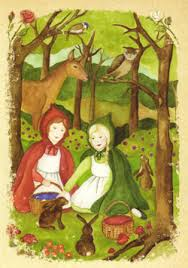 Snow-White and Rose-Red by Brothers Grimm_girls_wood_flower_hare